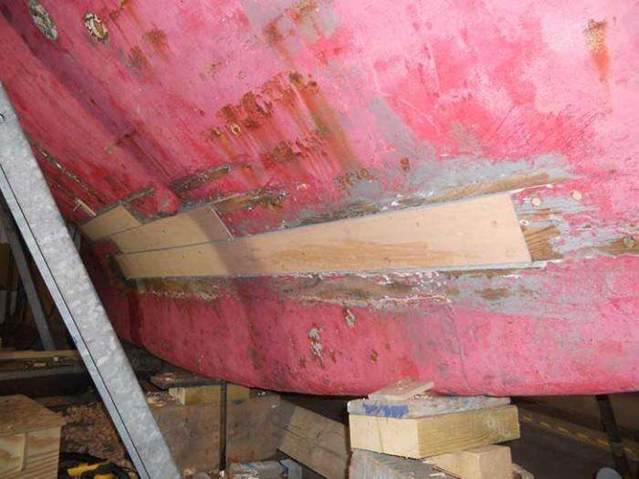 HEATHER - Garboard and hull planks being replaced