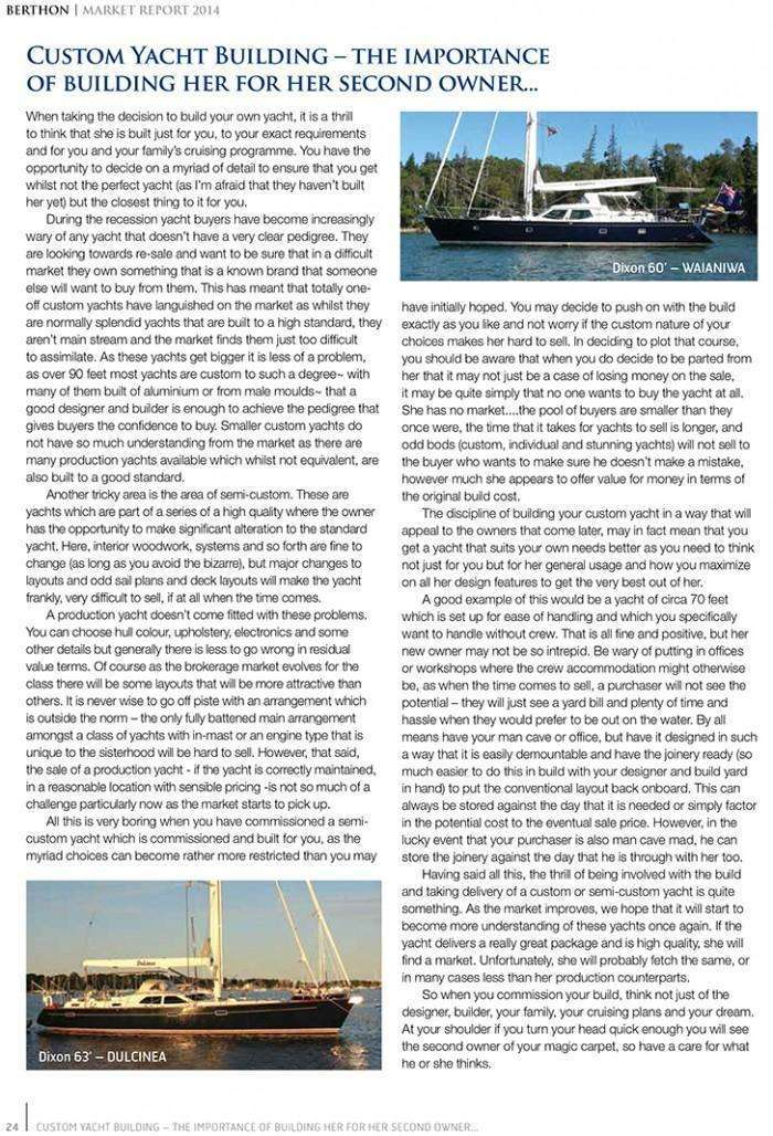 Berthon Market Report 2014 - Custom Build Yachts
