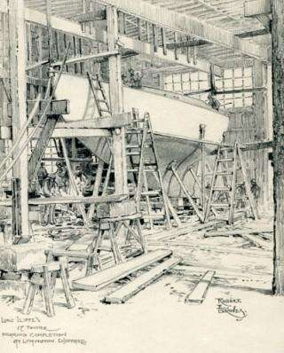 Gauntlet under construction at Berthon - pencil by Robert E Groves