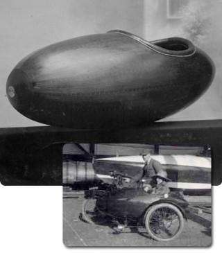 Harry May and Morgan Giles with dinghy and sidecar