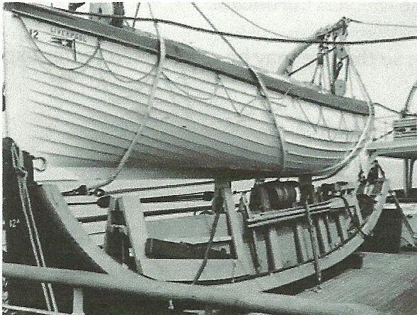 R.M.S. Olympic 30ft(9.14m.) Collapsible boat stowed beneath a conventional lifeboat
