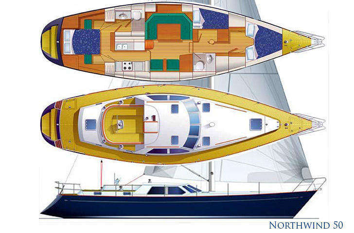 Hull deck interior plan Northwind 50 sailing yacht