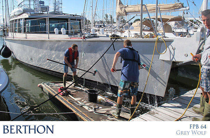 Grey Wolf getting a wash down by the Berthon Yacht Valeting Team