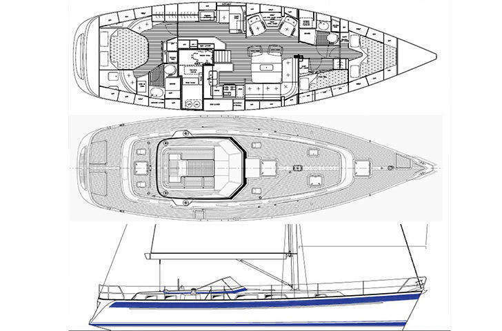 Hallberg-Rassy 48 deck, sail, hull, interior plan
