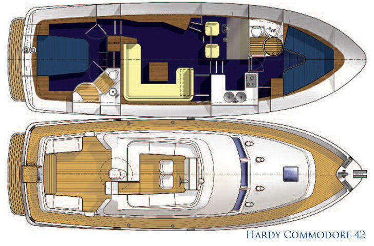 Interior and Deck plan for Hardy Commodore 42