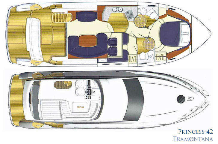 Interior and deck plan Princess 42