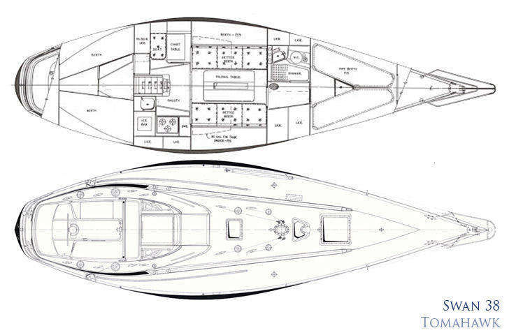 Swan 38 deck and interior plan