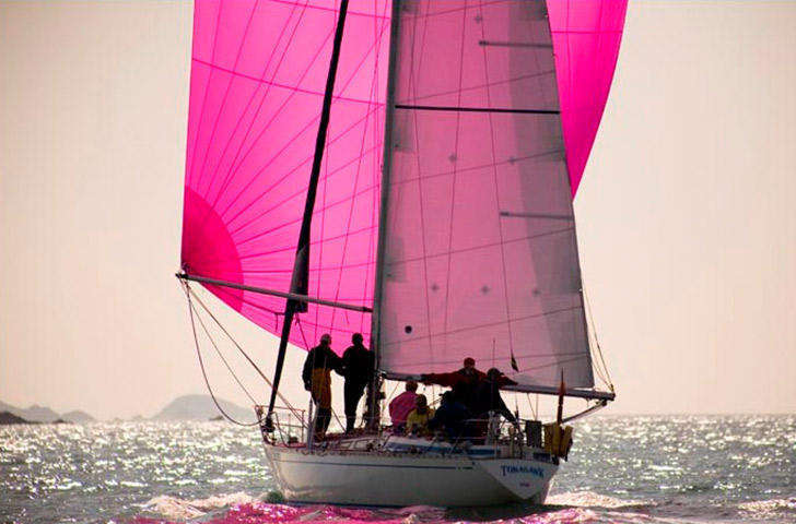 Swan 38 sailing with spinnaker