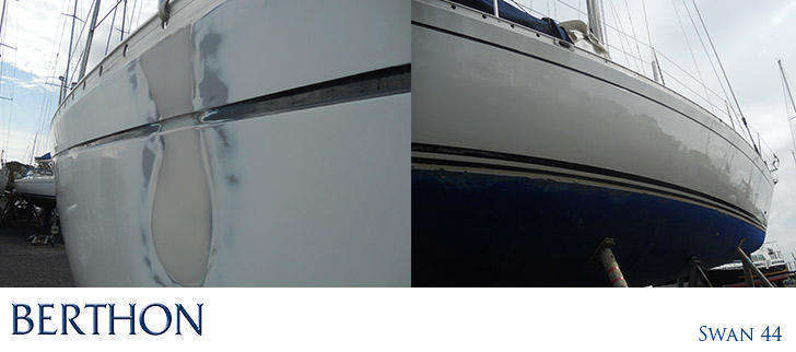 Swan 44 paint repair at Berthon Boat Company yacht spraying facility