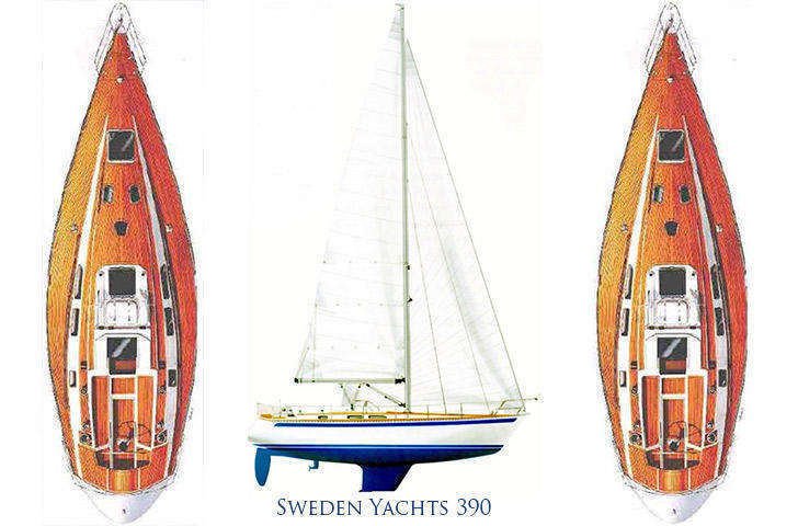 Sweden Yachts 390 sail plan, deck plan interior