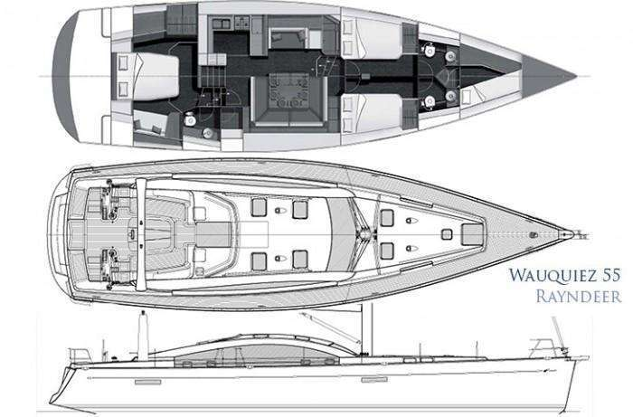 Wauquiez 55 Pilot Saloon hull, deck interior plan