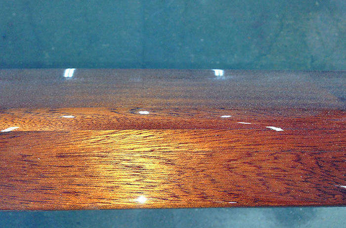 Details shot of Awlwood varnish treated coaming from JOLT - Berthon
