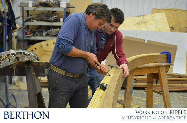 Berthon Shipwright Stuart Barrett working on Ripple with Apprentice Lewis Still