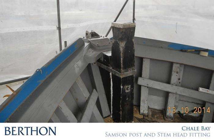 New stem head and original samson post replaced on CHALE BAY wooden boat repair berthon boat company