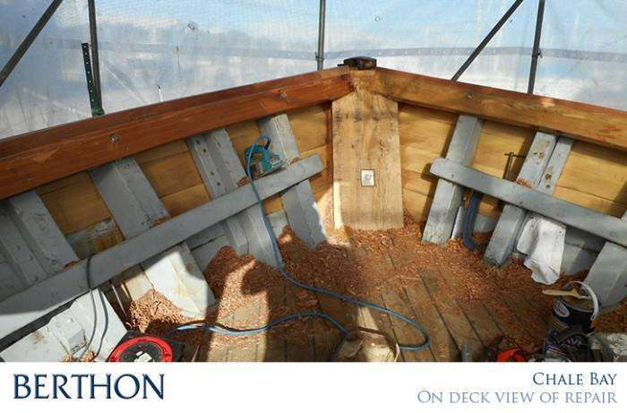 CHALE BAY on deck view of repairs before samson post was put in place - Berthon Boat Company