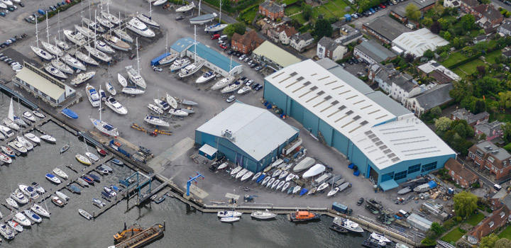 Berthon Big Blue Shed for Yacht Maintenance and Refit