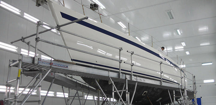Yacht Paint and resprays at Berthon Yacht Paint Facility Lymington