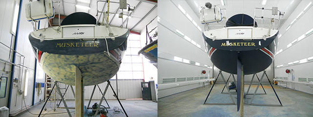 Maxi 1100 Stern view before and after yacht paint topsides