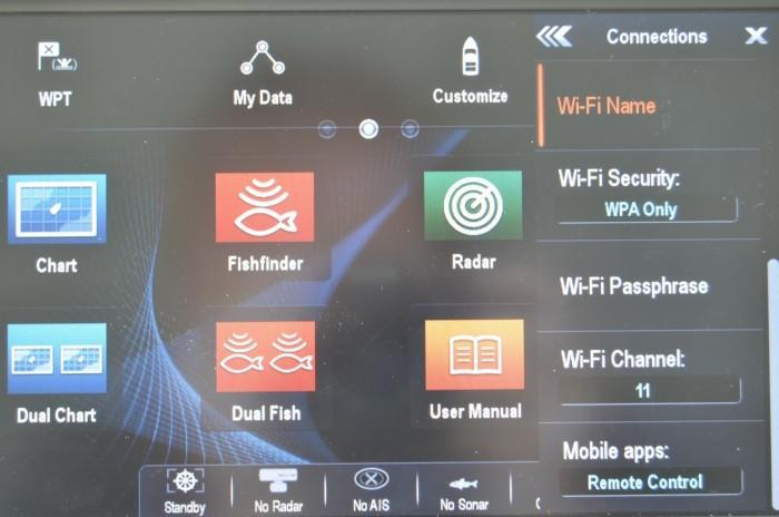 Wi-Fi Settings menu on Raymarine A95 MFD