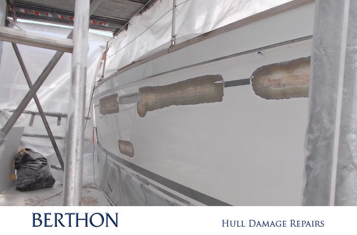 Hull damage repairs at Berthon Boat Co Lymington