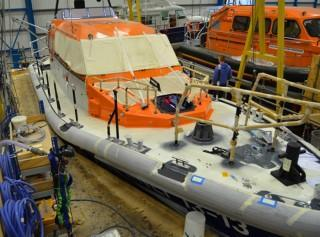 Shannon Class RNLI Lifeboat in Build at Berthon
