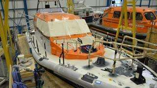 RNLI Shannon Class Lifeboat being built at Berthon Boat Co Lymington - Commercial Boat Building