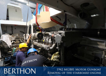 1942 MGB81 Motor Gunboat - Removal of the starboard engine 2