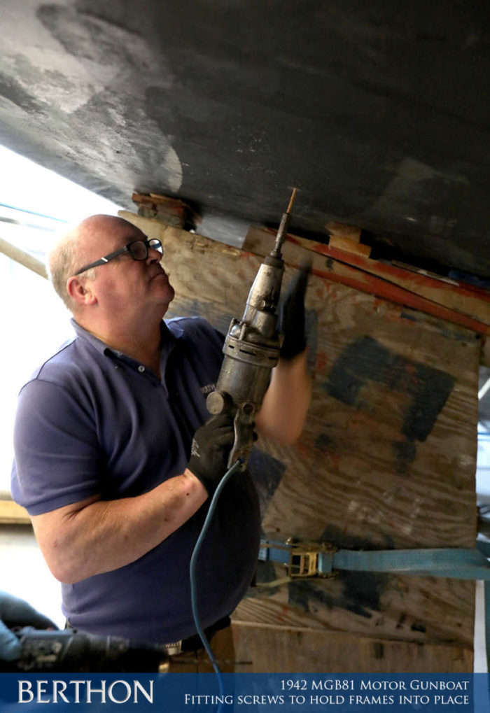 F22 - FITTING SCREWS TO HOLD FRAMES INTO PLACE - 1942 MGB81 MOTOR GUN BOAT REBUILD AND RESTORATION - BERTHON BOAT COMPANY