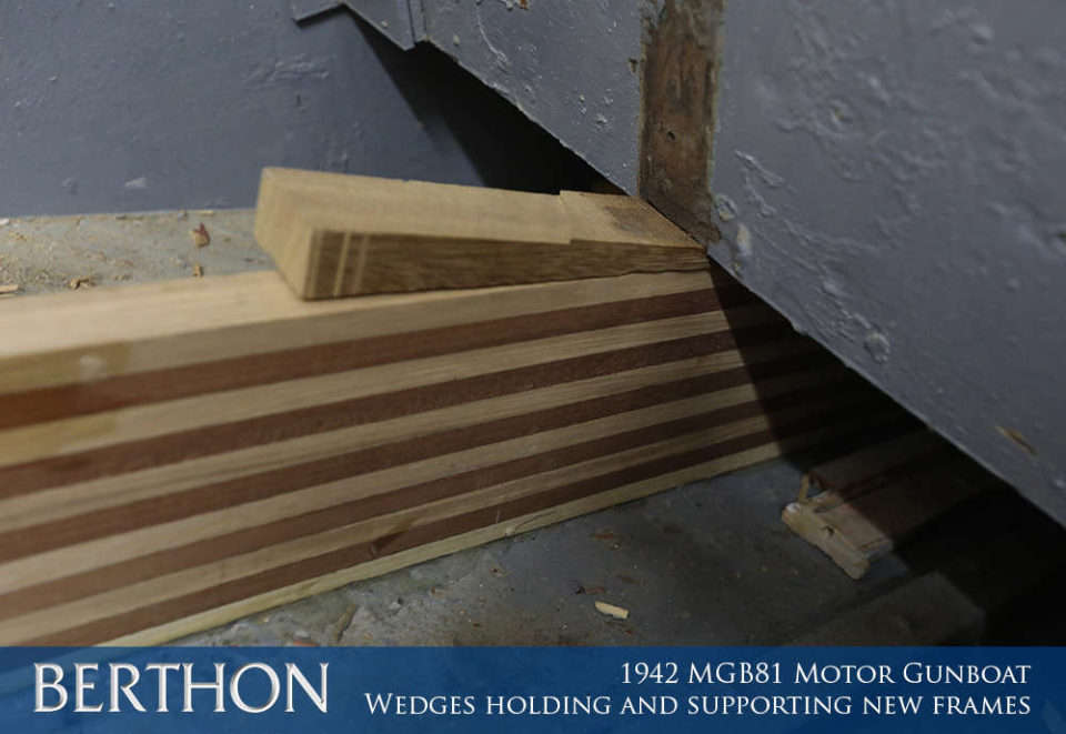 F23 - WEDGES HOLDING AND SUPPORTING NEW FRAMES - 1942 MGB81 MOTOR GUN BOAT REBUILD AND RESTORATION - BERTHON BOAT COMPANY