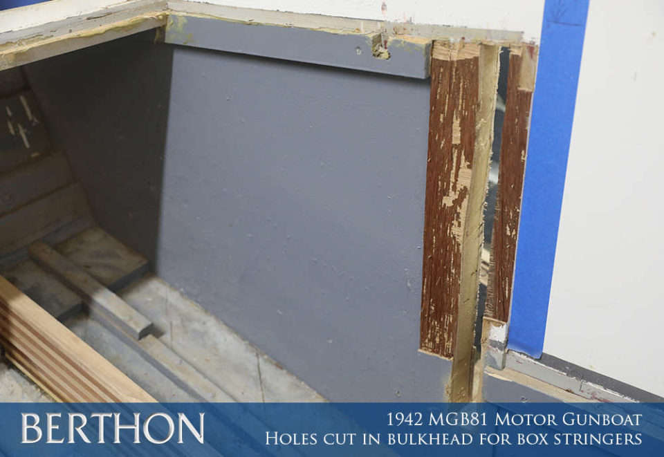 F28 - HOLES CUT IN BULKHEAD FOR BOX STRINGERS - 1942 MGB81 MOTOR GUN BOAT REBUILD AND RESTORATION - BERTHON BOAT COMPANY