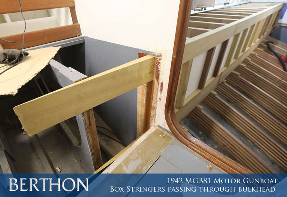 F30 - BOX STRINGERS PASSING THROUGH BULKHEAD - 1942 MGB81 MOTOR GUN BOAT REBUILD AND RESTORATION - BERTHON BOAT COMPANY