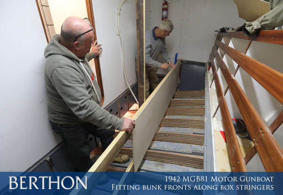 F31 - FITTING BENCH FRONTS ALONG BOX STRINGERS - 1942 MGB81 MOTOR GUN BOAT REBUILD AND RESTORATION - BERTHON BOAT COMPANY