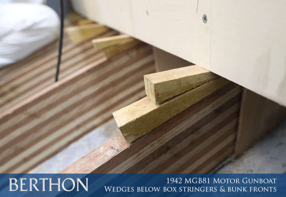 F32 - WEDGES BELOW BOX STRINGERS & BENCH FRONTS - 1942 MGB81 MOTOR GUN BOAT REBUILD AND RESTORATION - BERTHON BOAT COMPANY