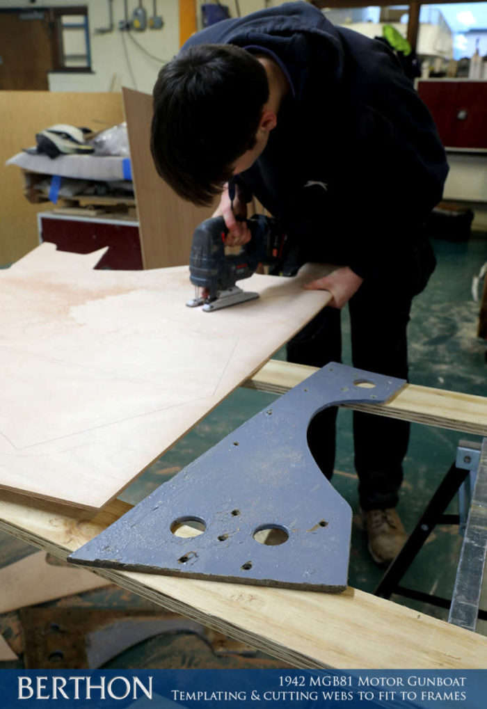 F34 - TEMPLATING & CUTTING WEBS TO FIT TO FRAMES - 1942 MGB81 MOTOR GUN BOAT REBUILD AND RESTORATION - BERTHON BOAT COMPANY