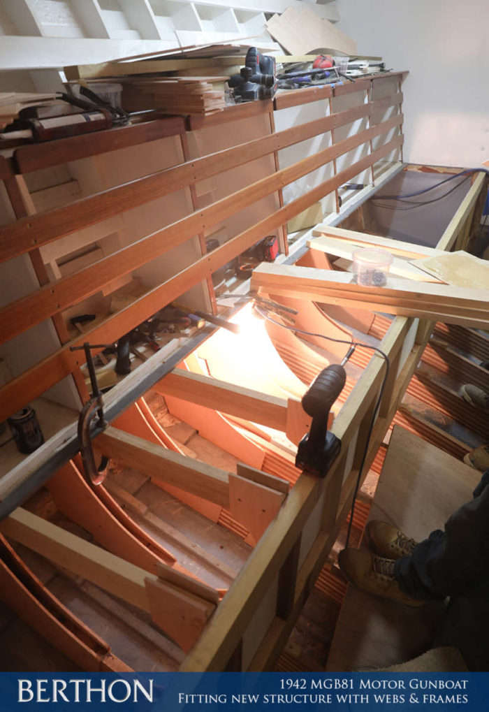 F35 - FITTING NEW STRUCTURE WITH WEBS & FRAMES - 1942 MGB81 MOTOR GUN BOAT REBUILD AND RESTORATION - BERTHON BOAT COMPANY