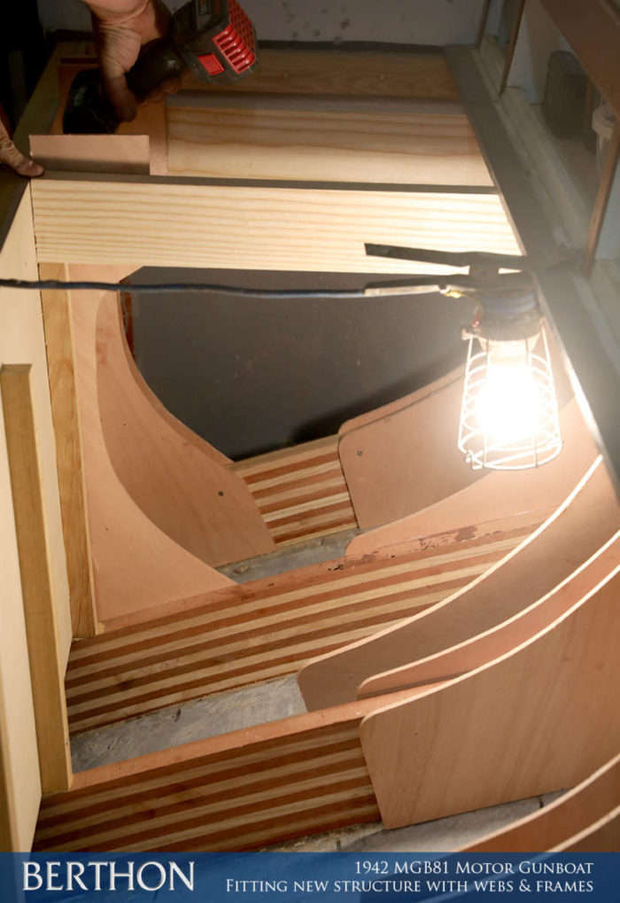 F36 - FITTING NEW STRUCTURE WITH WEBS & FRAMES - 1942 MGB81 MOTOR GUN BOAT REBUILD AND RESTORATION - BERTHON BOAT COMPANY