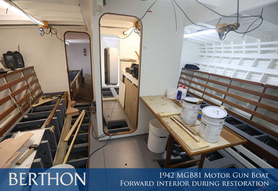 F41 - FORWARD INTERIOR DURING RESTORATION - 1942 MGB81 MOTOR GUN BOAT REBUILD AND RESTORATION - BERTHON BOAT COMPANY