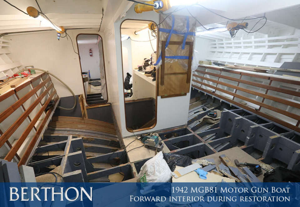 F42 - FORWARD INTERIOR DURING RESTORATION - 1942 MGB81 MOTOR GUN BOAT REBUILD AND RESTORATION - BERTHON BOAT COMPANY