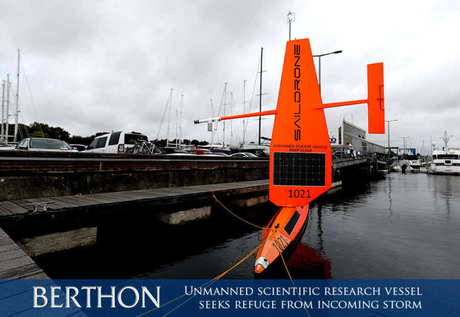 Unmanned scientific research vessel, SD 1021, seeks refuge from the incoming storm in Lymington Marina 2