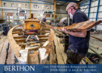 The 10m 1958 Wooden Bermudian sloop, BRYNHILDE is back at Berthon3