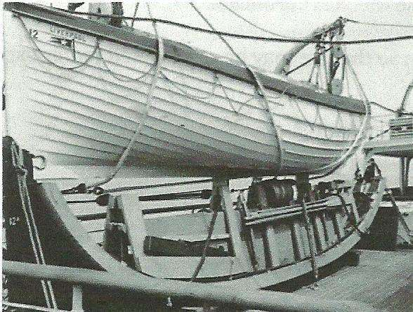 R.M.S.Olympic – 30ft(9.14m.)Collapsible boat stowed beneath a conventional lifeboat