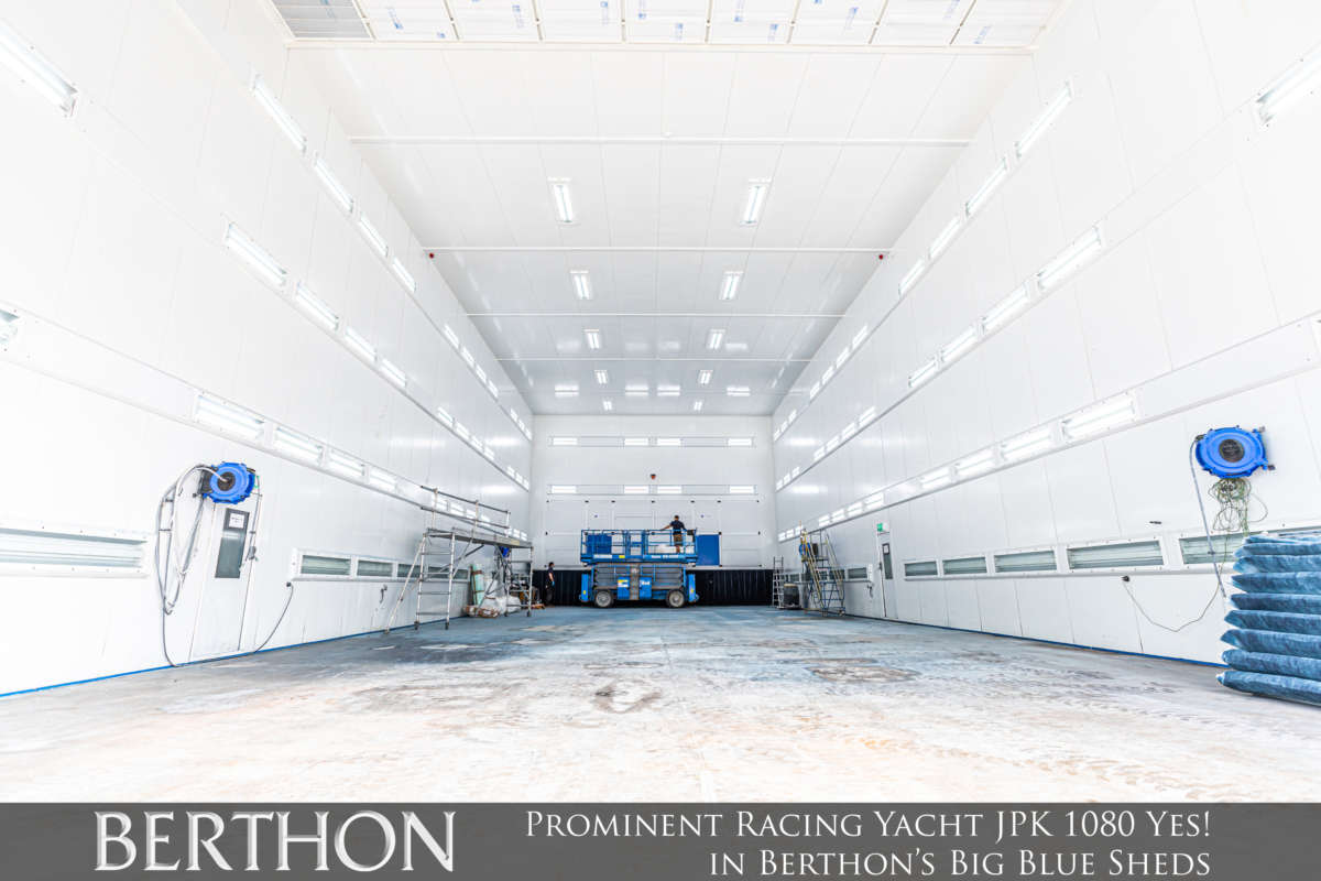 Yes! in Berthon's Big Blue Sheds JPK 1080 Yes - yacht painting