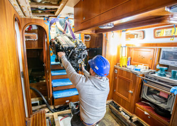 Fitting a new engine onboard a yacht